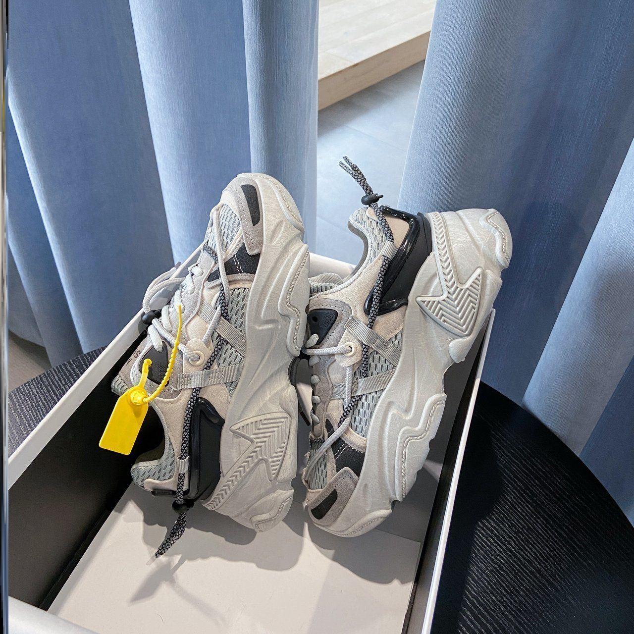 欧美松糕鞋 米色黑白灰色潮牌老爹鞋女欧美秋季潮鞋平底松糕底春季黑色2020年_推荐淘宝好看的女欧美松糕鞋