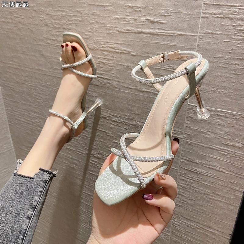 绿色罗马鞋 一字带水钻时装罗马凉鞋露趾2021夏季新款百搭仙女绿色高跟鞋细跟_推荐淘宝好看的绿色罗马鞋