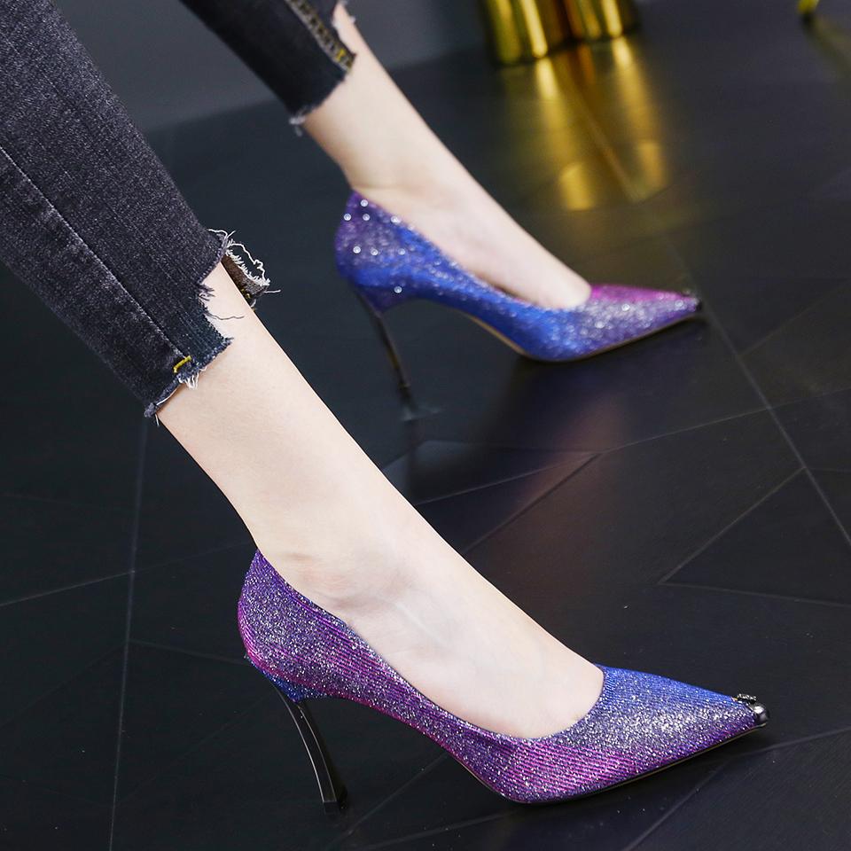 紫色高跟鞋 紫色时尚名媛风百搭亮片夜场浅口单鞋个性金属尖头细跟高跟鞋女秋_推荐淘宝好看的紫色高跟鞋
