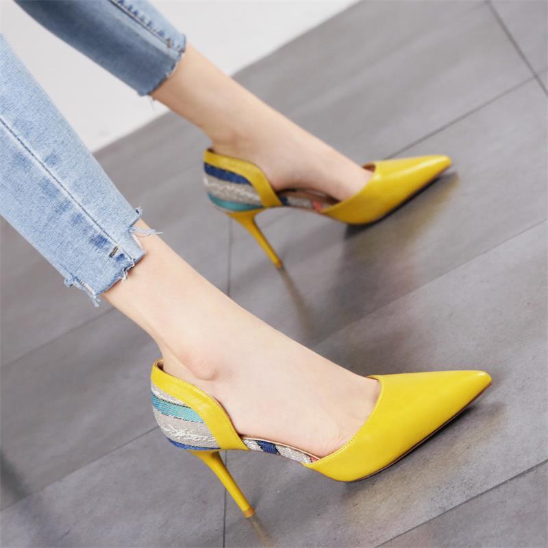黄色单鞋 2020夏新款时尚潮流尖头细跟高跟鞋女韩版小清新黄色浅口中空单鞋_推荐淘宝好看的黄色单鞋