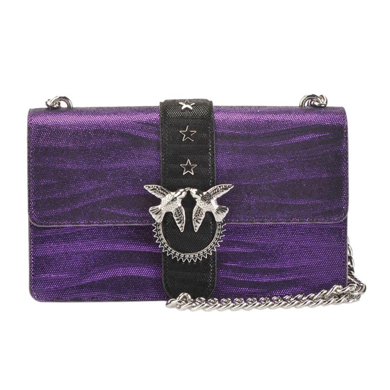 紫色链条包 PINKO品高 女包官方正品紫色皮革飞鸟燕子扣单肩斜挎包链条包_推荐淘宝好看的紫色链条包