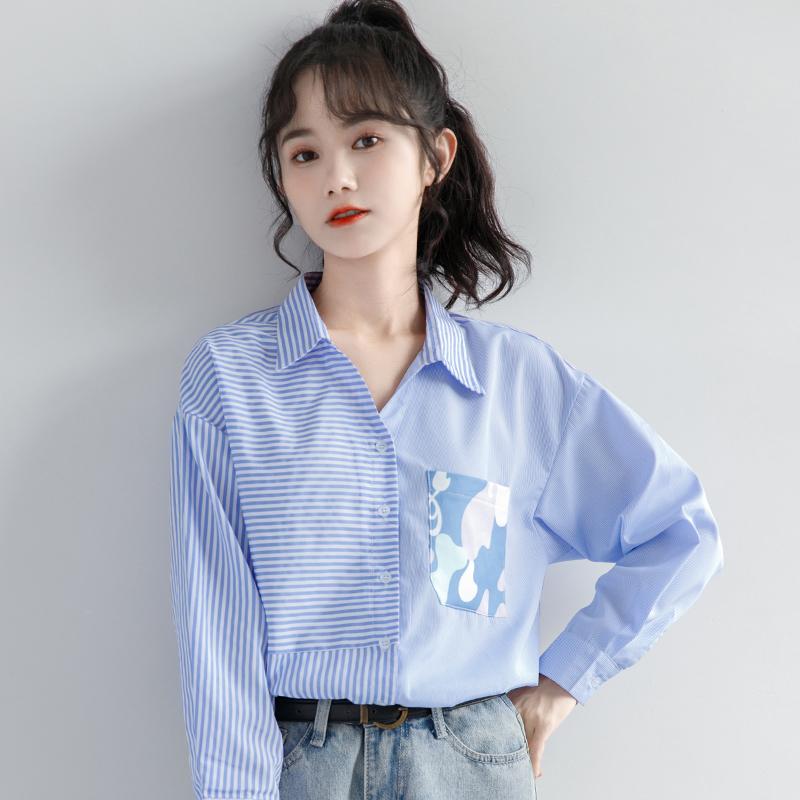 女装长袖衬衫 潮感上衣polo衬衣蓝色女小众长袖设计新款衬衫领2021秋季拼接条纹_推荐淘宝好看的女长袖衬衫