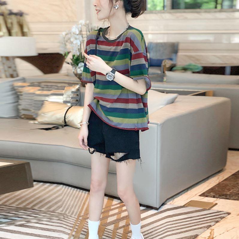 彩色条纹t恤 彩色条纹休闲t恤女夏装薄款上衣宽松漂亮短袖体恤2021新款欧洲站_推荐淘宝好看的女彩色条纹t恤