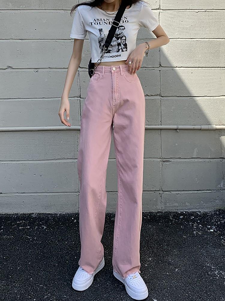 粉红色牛仔裤 粉色直筒牛仔裤女夏天薄款高腰显瘦宽松小个子粉红色阔腿裤潮ins_推荐淘宝好看的粉红色牛仔裤