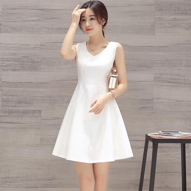 白色无袖连衣裙 连衣裙2019新款夏季流行女装气质修身显瘦雪纺白色无袖背心裙子女_推荐淘宝好看的白色无袖连衣裙