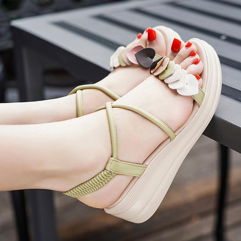 达芙妮坡跟鞋 优足达芙妮凉鞋女2021年新款夏季仙女风中跟坡跟百搭学生罗马女鞋_推荐淘宝好看的达芙妮坡跟鞋