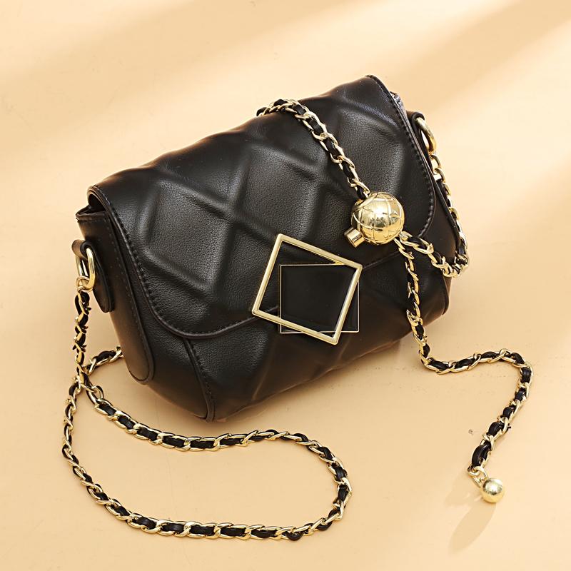 黑色菱格链条包 小香风黑色小包包2021新款时尚潮夏季小金球菱格链条包包斜挎女包_推荐淘宝好看的黑色菱格链条包