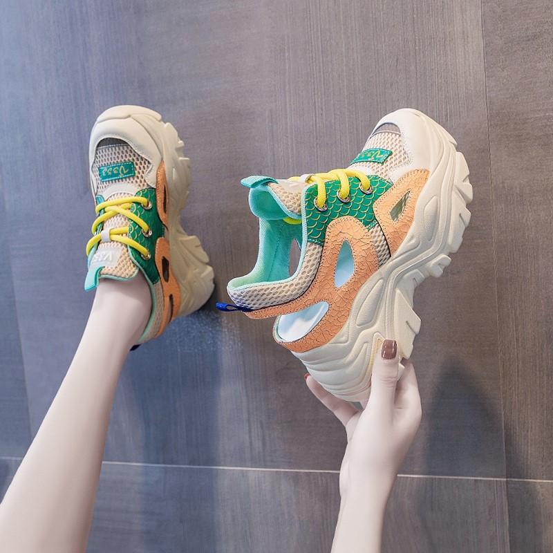 罗马坡跟鞋 厚底包头凉鞋女鞋老爹2021年夏季新款运动坡跟松糕内爆款罗马_推荐淘宝好看的罗马坡跟鞋