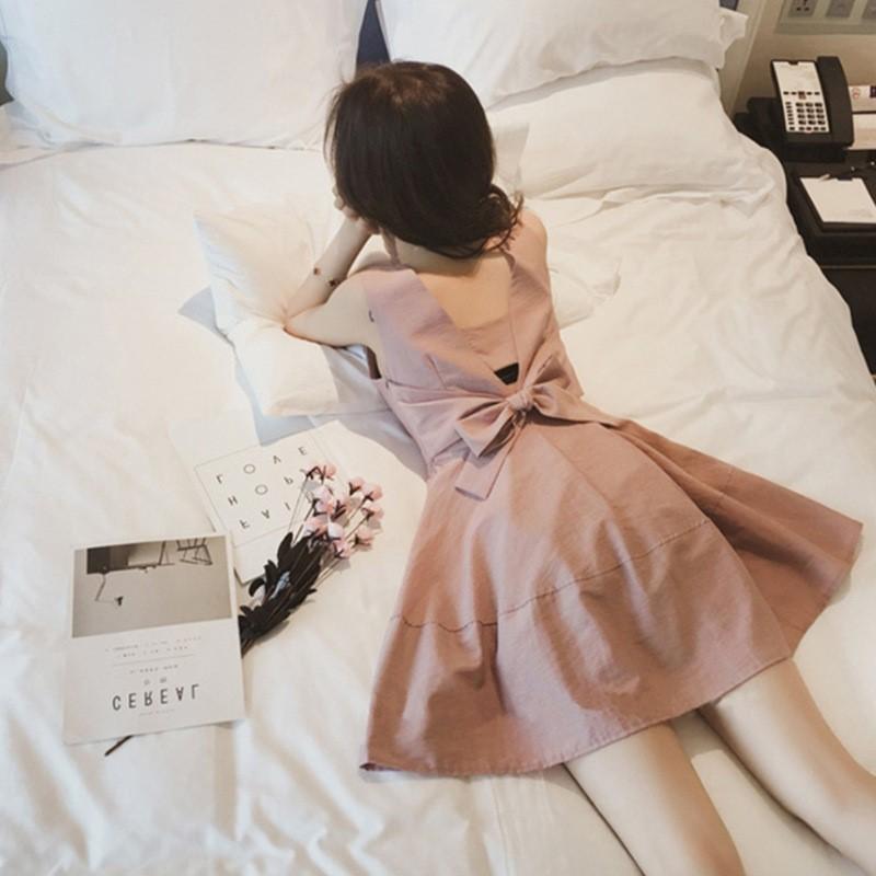 蝴蝶结无袖t恤 短袖t恤女2021年夏季新款露背蝴蝶结打底衫中长款无袖娃娃衫上衣_推荐淘宝好看的女蝴蝶结无袖t恤