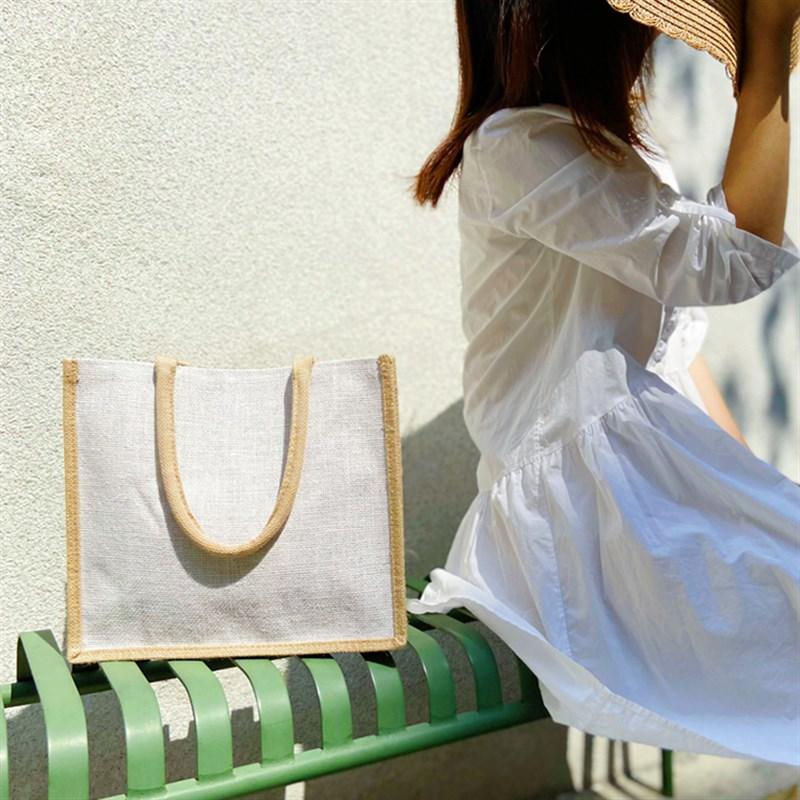 白色草编包 2021新款原创小众手作麻布淑z女包夏天白色文艺手提袋轻便草编包_推荐淘宝好看的白色草编包