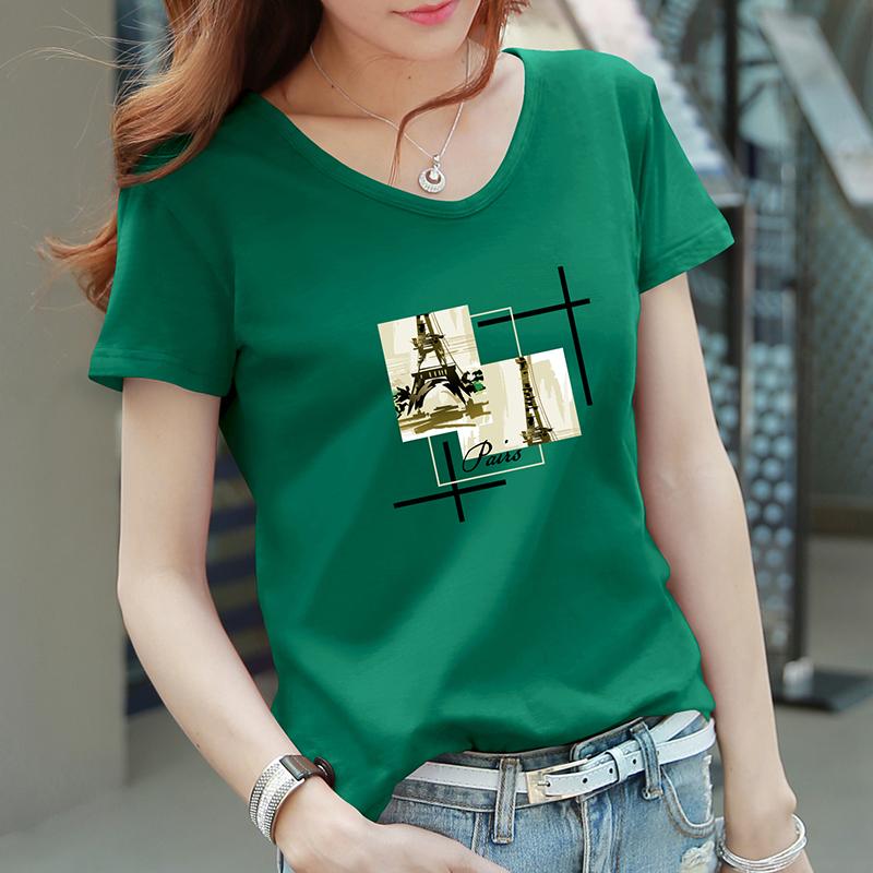 绿色T恤 印花气质短袖t恤女墨绿色宽松大码mm韩版夏装纯棉V领半袖体桖上衣_推荐淘宝好看的绿色T恤