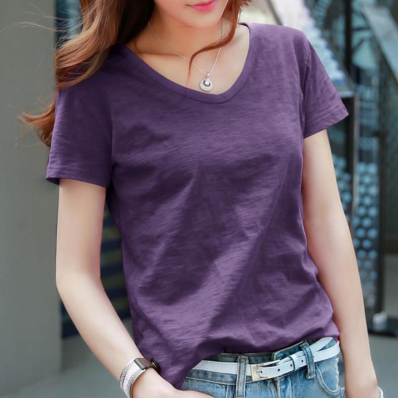 紫色T恤 黛紫色t恤女短袖宽松韩版纯棉上衣2021夏装新款竹节棉V领体恤t桖_推荐淘宝好看的紫色T恤