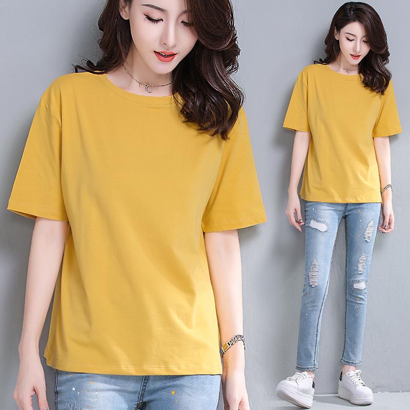 黄色T恤 姜黄色短袖t恤女夏宽松妈妈纯棉上衣2021新款纯色白色大码体桖衫_推荐淘宝好看的黄色T恤