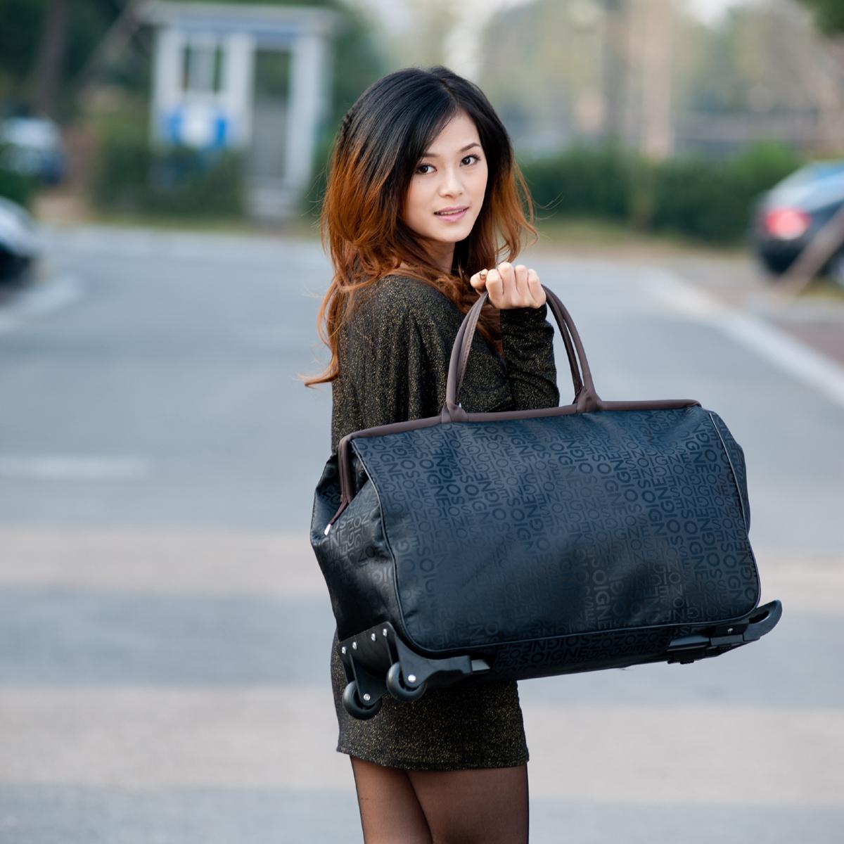 彭丽媛手提包 拉杆包行李包拉杆女手提旅行包大容量登机包男士短途旅游包手拖包_推荐淘宝好看的女手提包