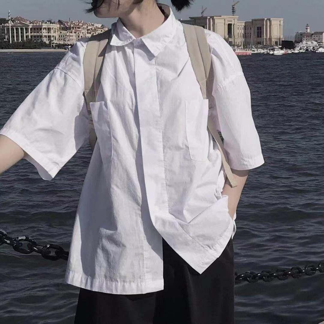 女士短袖衬衣 日系复古白色衬衫女学生夏季宽松短袖百搭港风设计感小众洋气衬衣_推荐淘宝好看的女短袖衬衣