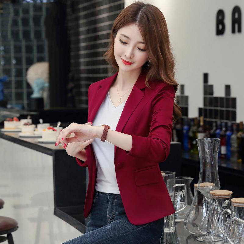 红色小西装 小个子短款红色西装外套女休闲薄款韩版西服2021新款春秋上衣修身_推荐淘宝好看的红色小西装