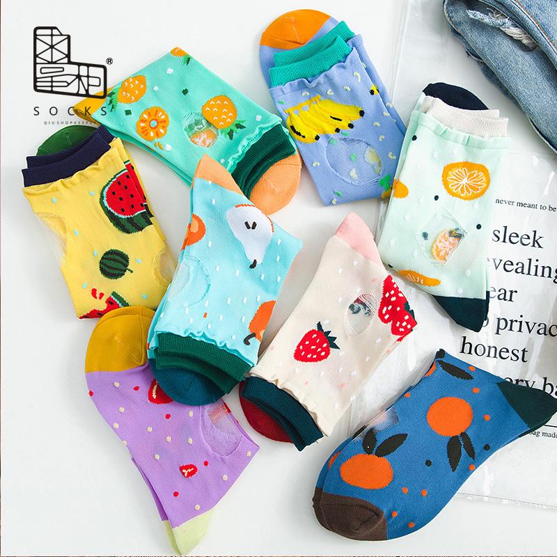 彩色透明丝袜 求掌柜 卡丝袜夏季薄款袜子女日系水果玻璃丝透明韩版彩色中筒袜_推荐淘宝好看的彩色透明丝袜
