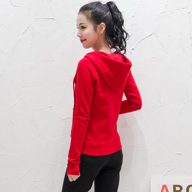 红色卫衣 红色卫衣女薄款2021新款短款连帽开衫春秋拉链上衣修身运动外套春_推荐淘宝好看的红色卫衣