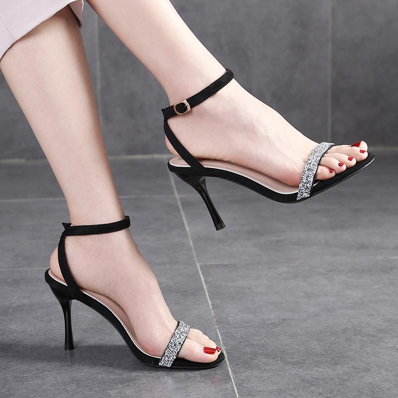 新款水钻凉鞋 2020年新款高跟鞋女网红一字带凉鞋性感水钻细跟夏季时装仙女风_推荐淘宝好看的女新款水钻凉鞋