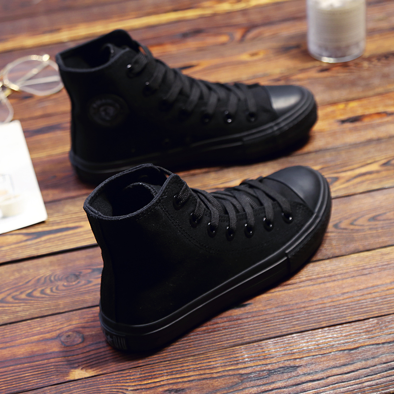 黑色高帮鞋 环球全黑色高帮纯黑帆布鞋女学生鞋板鞋休闲平底单鞋工作鞋球鞋_推荐淘宝好看的黑色高帮鞋