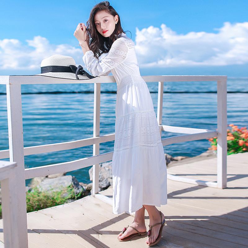 艾格连衣裙 2021年春装新款白色连衣裙法式仙女裙子气质显瘦长裙度假沙滩裙夏_推荐淘宝好看的艾格连衣裙