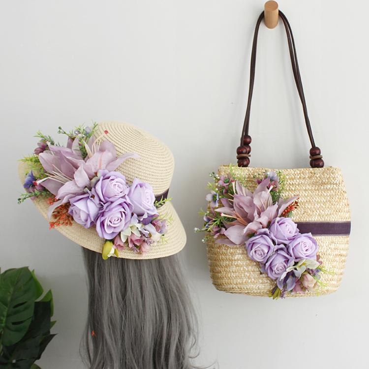 紫色草编包 春夏草帽女草帽沙滩帽度假旅游单肩手提包草包女紫色花朵草编织包_推荐淘宝好看的紫色草编包