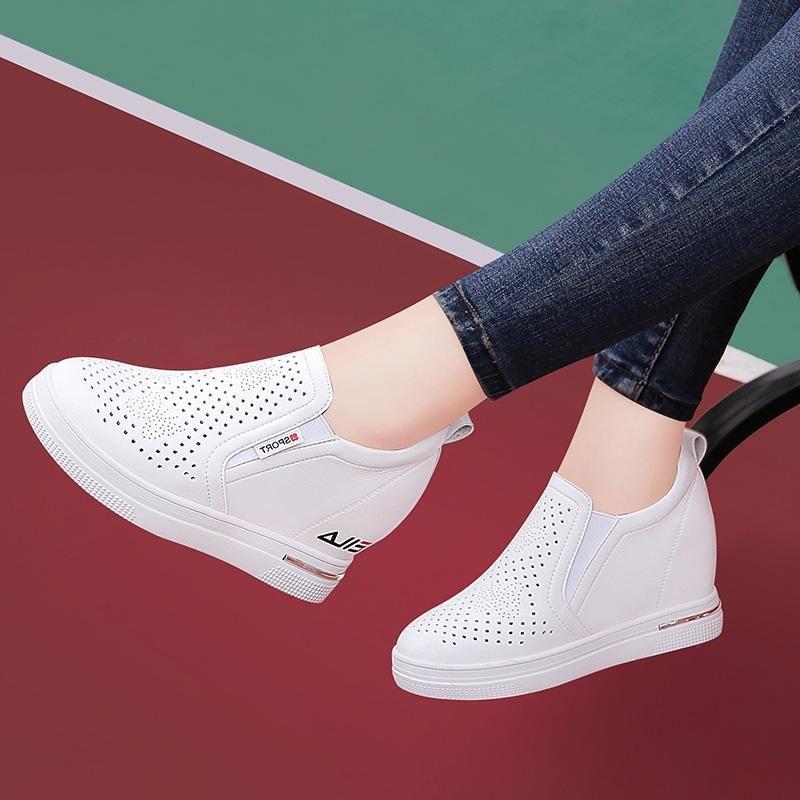 耐克运动鞋新款 轩尧耐克泰白色运动鞋女2020春季新款隐形内增高女鞋百搭休闲软底_推荐淘宝好看的女耐克运动鞋新款