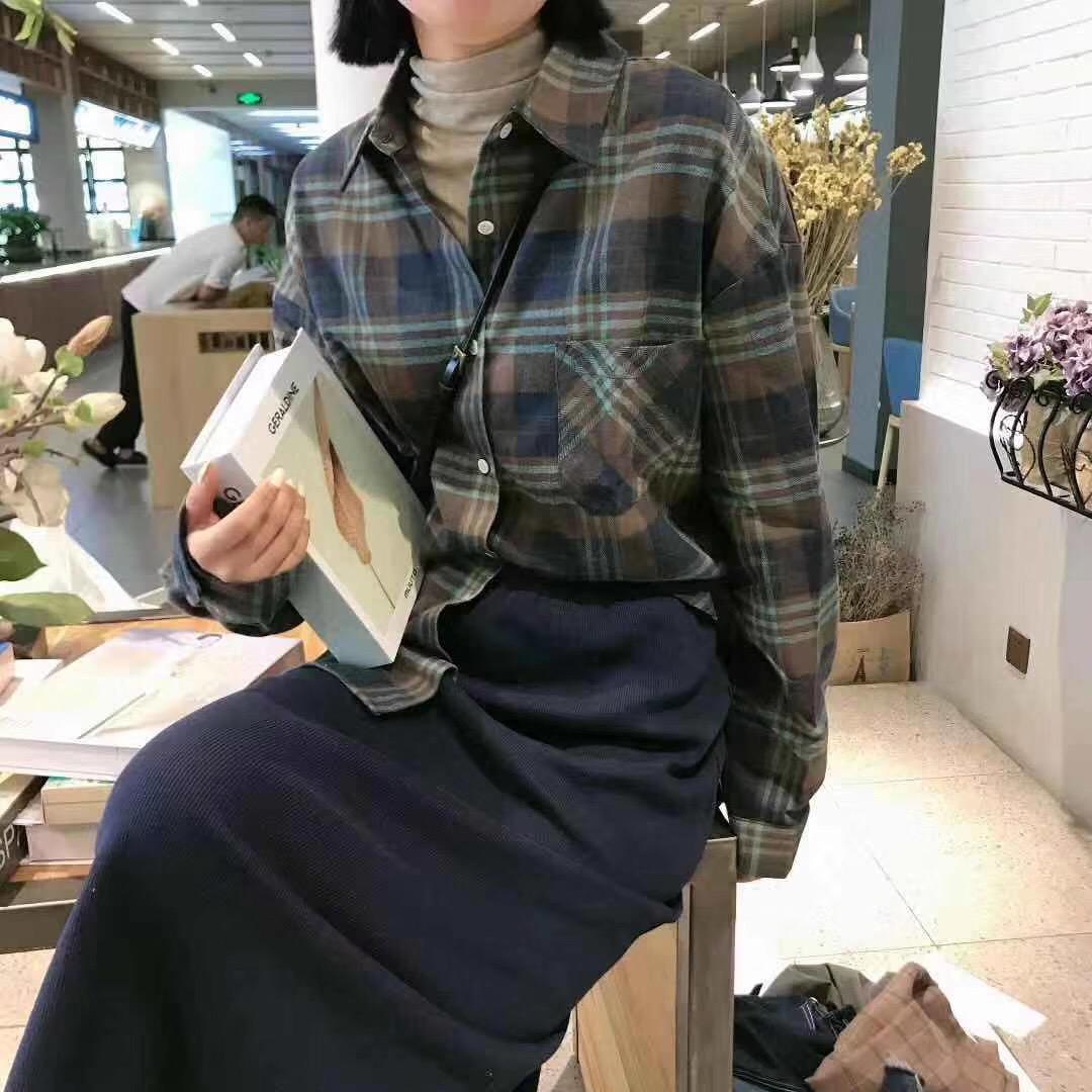 长款格子衬衫 2020春秋韩版减龄格子衬衫女中长款学生显瘦休闲打底_推荐淘宝好看的女长款格子衬衫