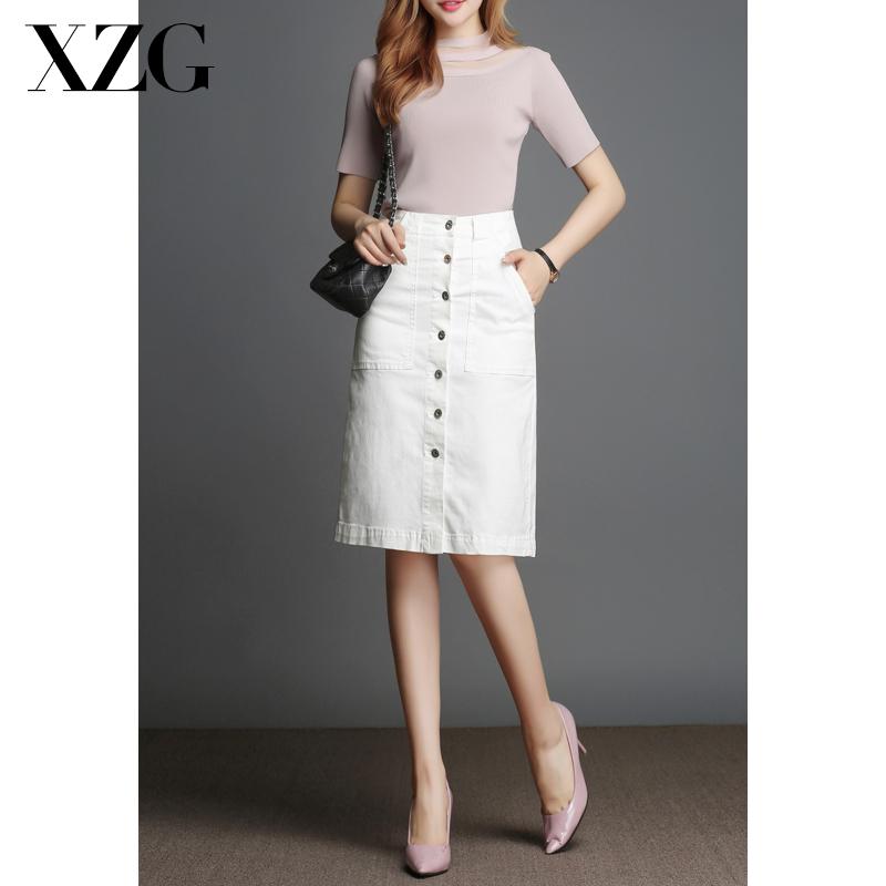 白色半身裙 牛仔半身裙女中长款2021春秋新款韩版显瘦白色裙一步伞裙包臀短裙_推荐淘宝好看的白色半身裙