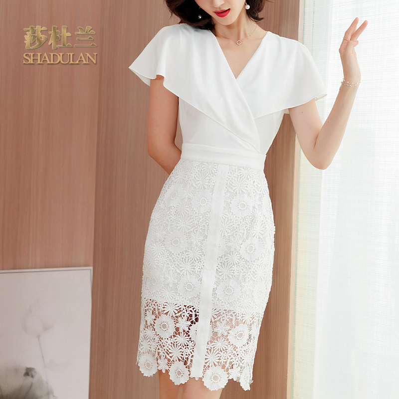 蕾丝连衣裙 经典款 莎杜兰小众连衣裙女2021夏季新款OL气质白色蕾丝裙包臀裙1222_推荐淘宝好看的蕾丝连衣裙