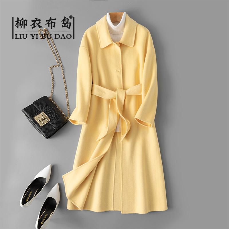 黄色风衣 鹅黄色女秋冬季羊毛呢外套中长款风衣收腰大衣双面零羊绒修身气质_推荐淘宝好看的黄色风衣