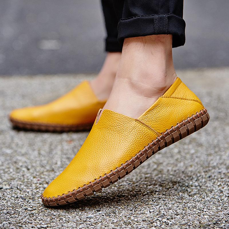 黄色豆豆鞋 男鞋2020年新款潮手工软皮鞋黄色豆豆鞋男社会精神小伙休闲驾车鞋_推荐淘宝好看的黄色豆豆鞋