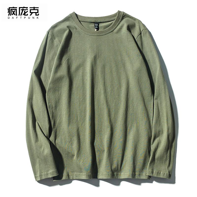 绿色T恤 纯棉男女军绿色t恤秋季新款宽松韩版春季长袖上衣学生情侣打底衫_推荐淘宝好看的绿色T恤