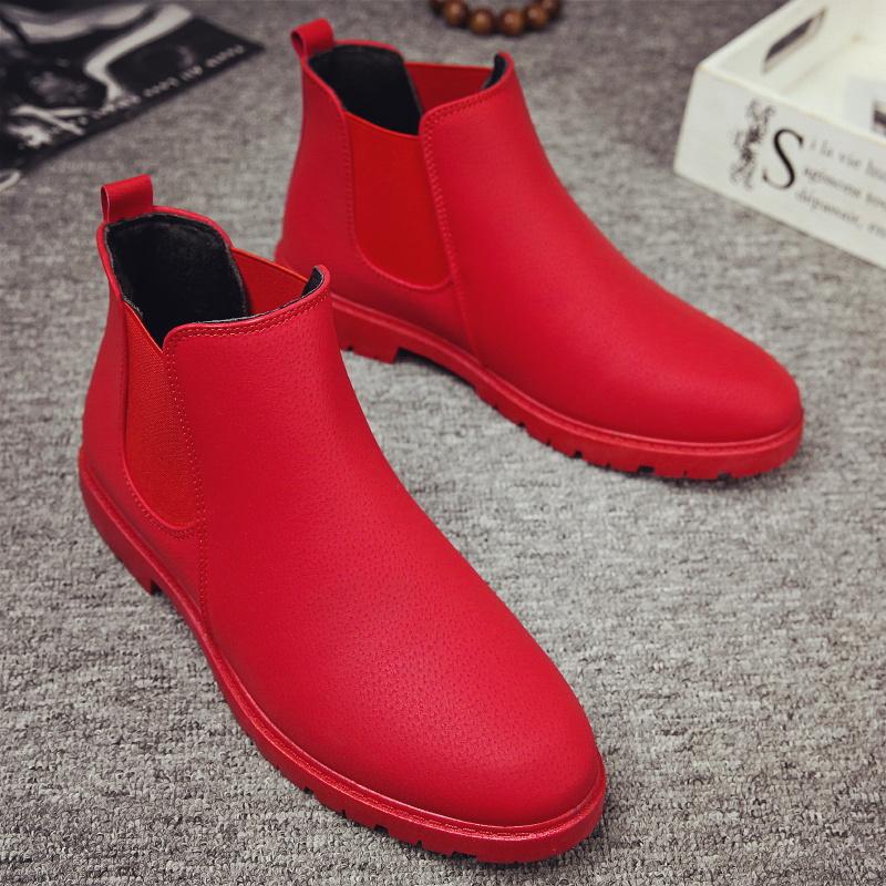 红色高帮鞋 红色新款英伦短靴保暖休闲切尔西靴韩版高帮鞋百搭马丁靴男潮冬季_推荐淘宝好看的红色高帮鞋