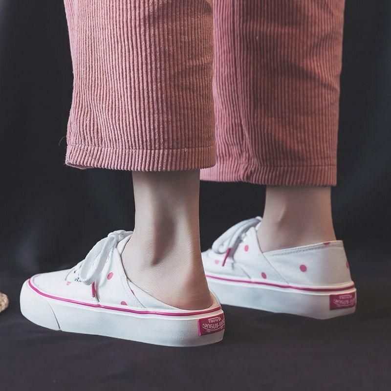粉红色帆布鞋 半拖帆布鞋女2021年夏季新款粉红色格子百搭两穿一脚蹬布鞋懒人鞋_推荐淘宝好看的粉红色帆布鞋
