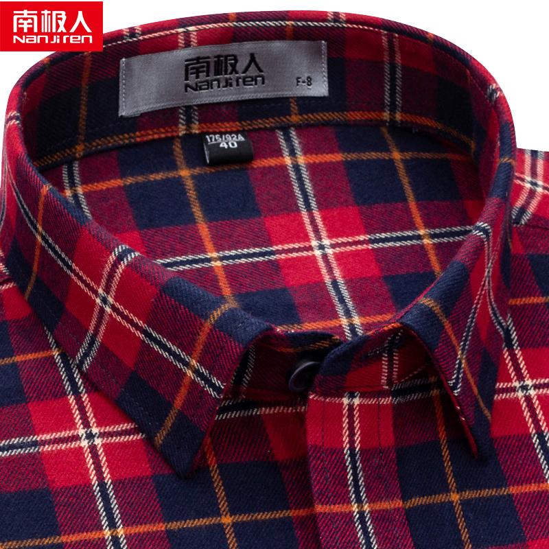 红色衬衫 南极人长袖衬衫男格子红色方格本命年休闲商务中年纯棉男士秋衬衣_推荐淘宝好看的红色衬衫