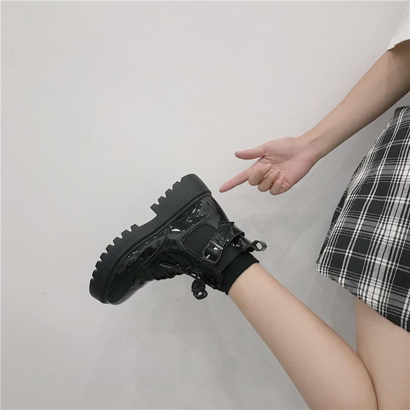 英伦短靴 短靴女单靴英伦风鞋子2021年新款春秋夏薄款厚底机车马丁靴ins潮_推荐淘宝好看的女英伦短靴