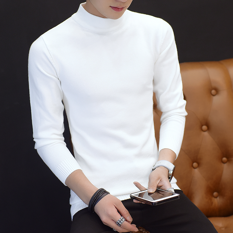 白色针织衫 冬季加绒男士中领毛衣韩版白色半高领修身打底针织衫薄款毛衫男装_推荐淘宝好看的白色针织衫