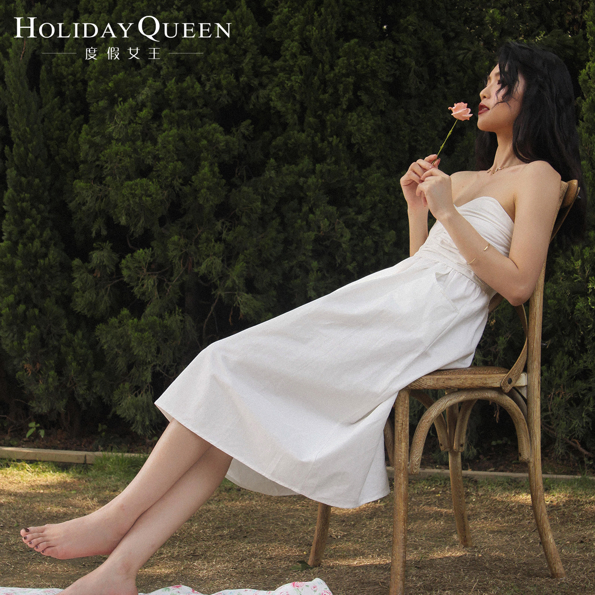白色修身连衣裙 度假女王白色连衣裙女抹胸裙修身显瘦气质露背裹胸连衣裙_推荐淘宝好看的白色修身连衣裙