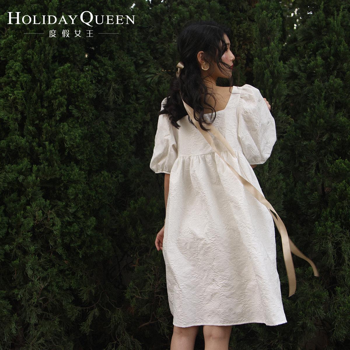 艾格连衣裙 方领泡泡袖娃娃裙甜美复古时尚度假沙滩裙新款女装 蓬蓬袖连衣裙_推荐淘宝好看的艾格连衣裙