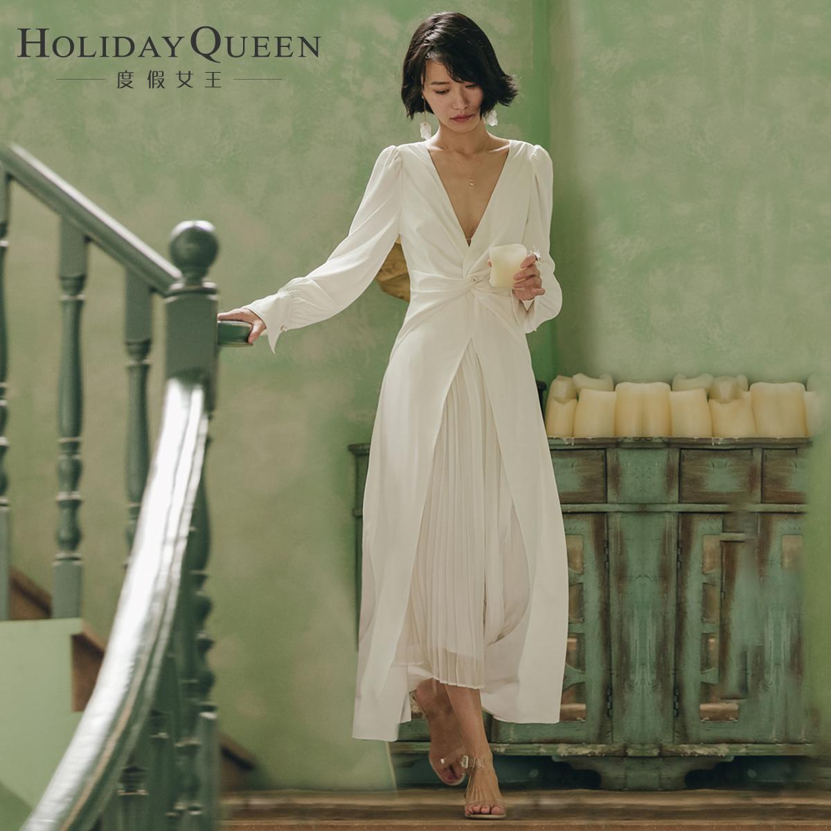 艾格连衣裙 度假女王V领春沙滩裙写真礼服主持表演女装白色名媛连衣裙子长裙_推荐淘宝好看的艾格连衣裙