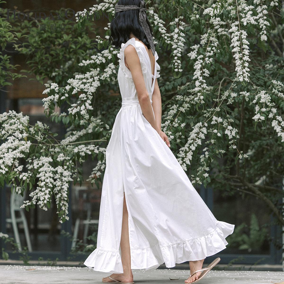 白色无袖连衣裙 度假女王海边度假沙滩裙高开叉性感无袖连衣裙收腰长款裙子 白色_推荐淘宝好看的白色无袖连衣裙