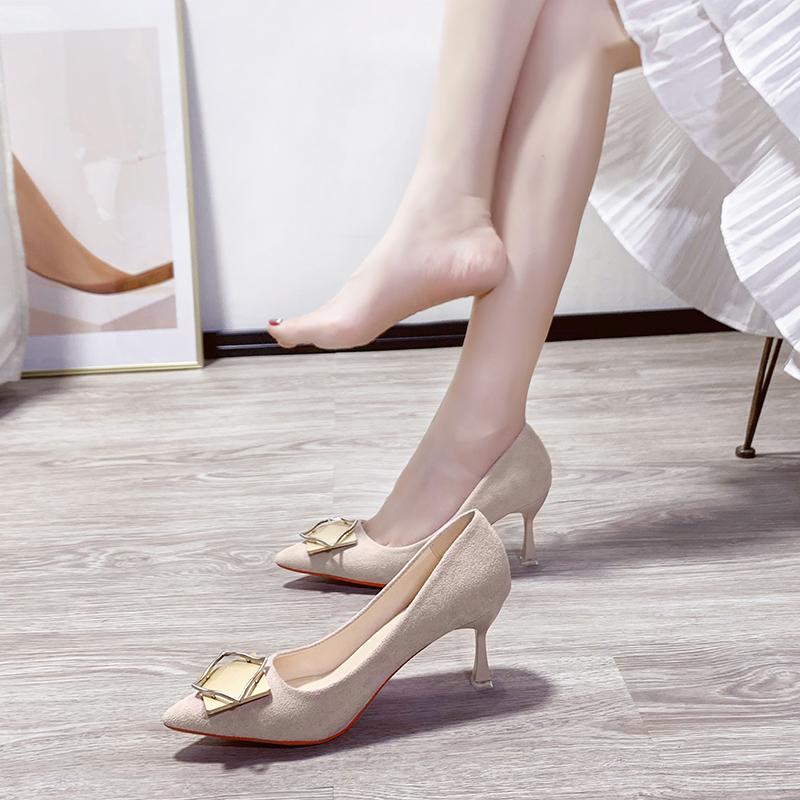 细高跟单鞋 法式高跟鞋女细跟2020新款夏季网红百搭性感少女方扣伴娘尖头单鞋_推荐淘宝好看的女细高跟单鞋