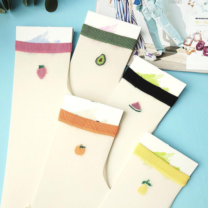 彩色透明丝袜 彩色水果透明玻璃丝袜短筒袜子女春季超薄水晶袜可爱少女透气短袜_推荐淘宝好看的彩色透明丝袜