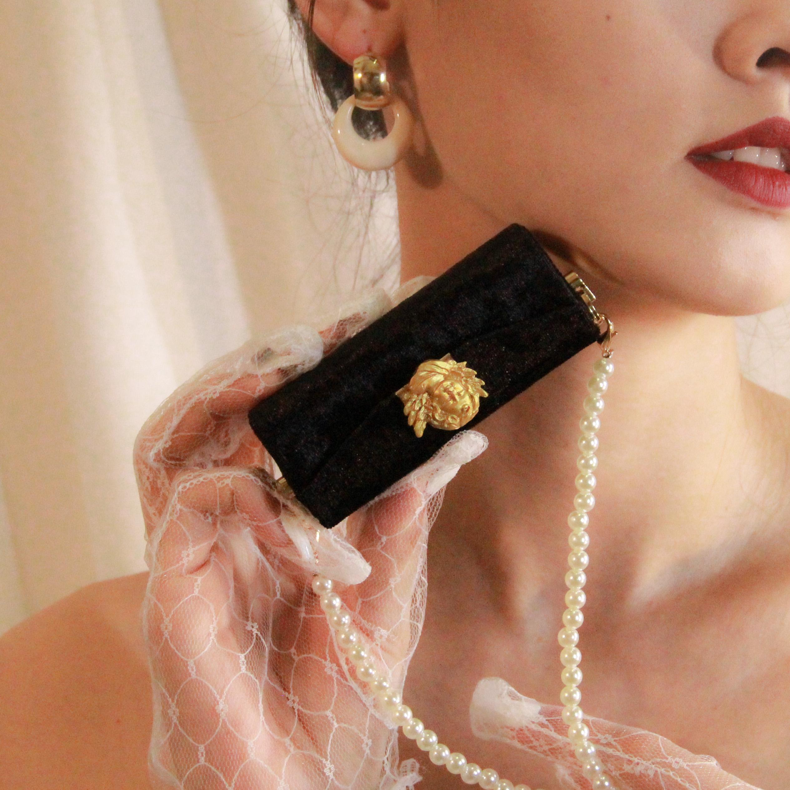 黑色链条包 021-2黑色珍珠链条口红包便携口红盒送女孩礼物精致时尚复古风格_推荐淘宝好看的黑色链条包
