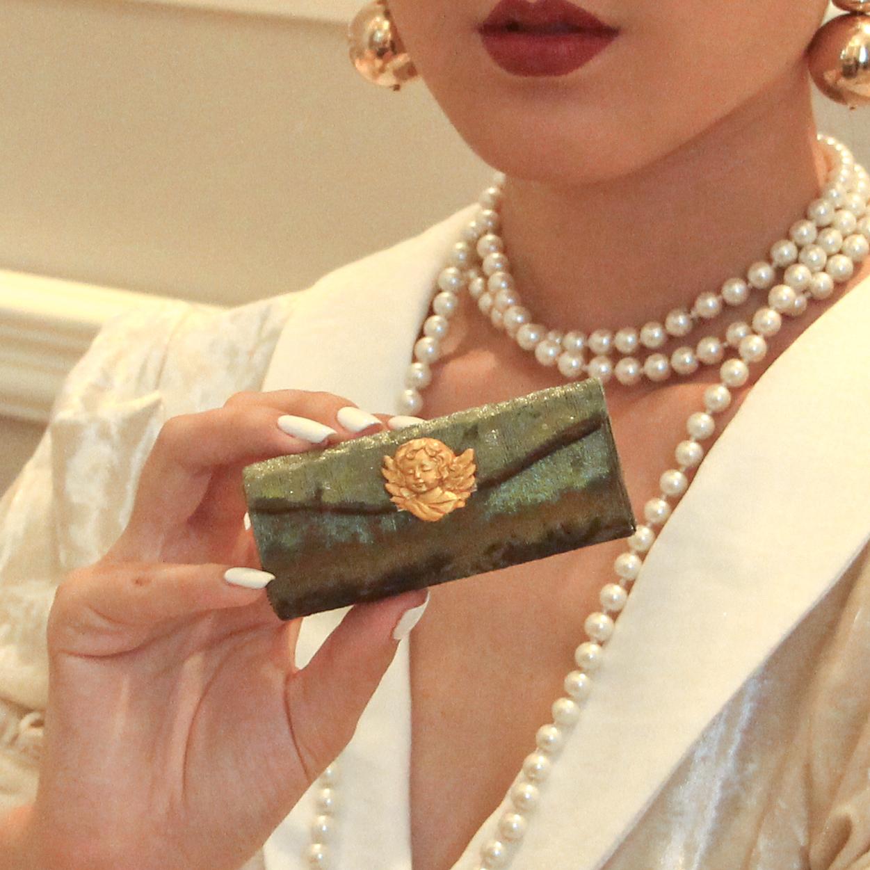 绿色复古包 020-5绿色翻盖化妆包口红收纳镜子便携单只收纳原创复古精致_推荐淘宝好看的绿色复古包