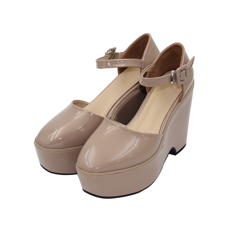 韩版坡跟鞋 essnidel同款松糕鞋春季女新款坡跟百搭超厚底韩版方头搭扣_推荐淘宝好看的韩版坡跟鞋