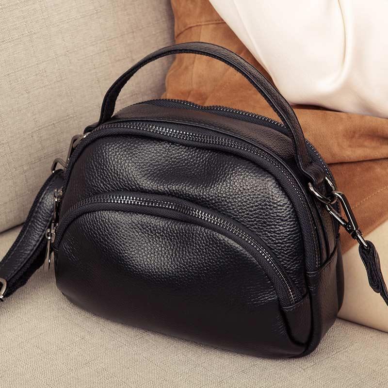 黑色贝壳包 挎包女小包包2020新款多层真皮单肩斜挎包头层牛皮迷你手提贝壳包_推荐淘宝好看的黑色贝壳包