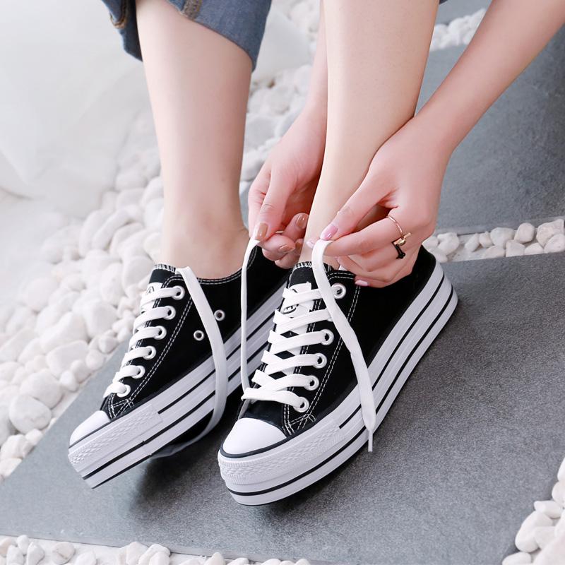 黑色厚底鞋 人本帆布鞋女厚底小白鞋女学生韩版黑色板鞋女2020新款百搭布鞋女_推荐淘宝好看的黑色厚底鞋
