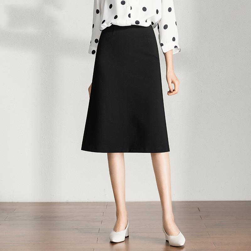 黑色半身裙 裙子垂感春秋新款长裙a字半身裙女中长款黑色 2021显瘦气质包臀裙_推荐淘宝好看的黑色半身裙